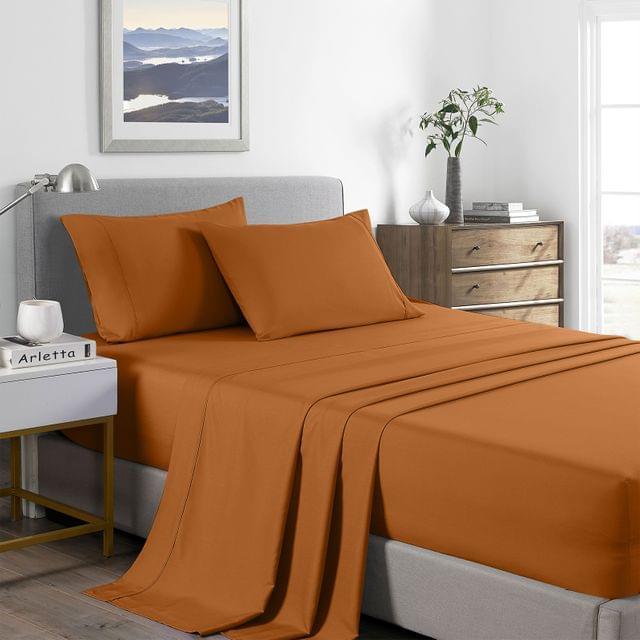 (QUEEN)Royal Comfort 2000 Thread Count Bamboo Cooling Sheet Set Ultra Soft Bedding - Queen - Rust