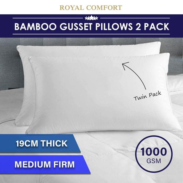 Royal Comfort Luxury Bamboo Blend Gusset Pillow Twin Pack 4cm Gusset Support