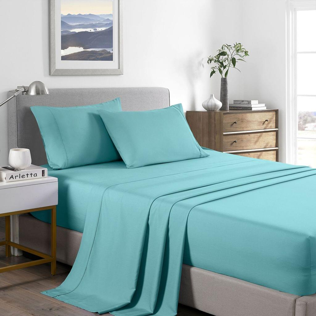 Casa Decor 2000 Thread Count Bamboo Cooling Sheet Set Ultra Soft Bedding - Queen - Aqua