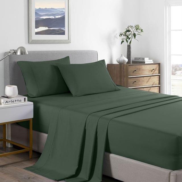 Royal Comfort 2000 Thread Count Bamboo Cooling Sheet Set Ultra Soft Bedding - Queen - Olive