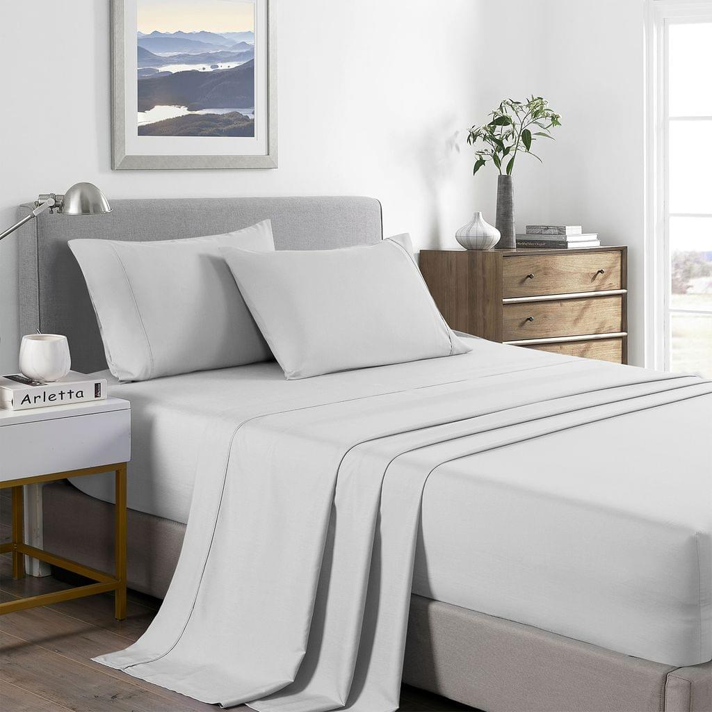 (DOUBLE)Royal Comfort 2000 Thread Count Bamboo Cooling Sheet Set Ultra Soft Bedding - Double - Pearl Stone