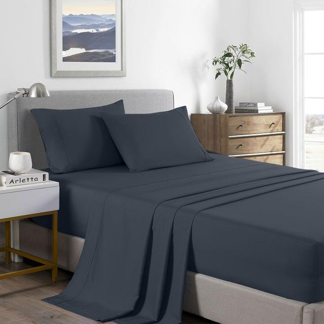 (DOUBLE)Royal Comfort 2000 Thread Count Bamboo Cooling Sheet Set Ultra Soft Bedding - Double - Charcoal
