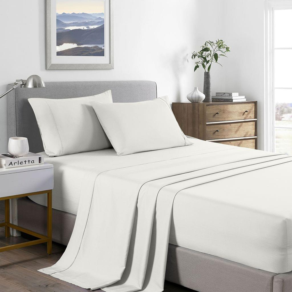 (DOUBLE)Royal Comfort 2000 Thread Count Bamboo Cooling Sheet Set Ultra Soft Bedding - Double - Natural