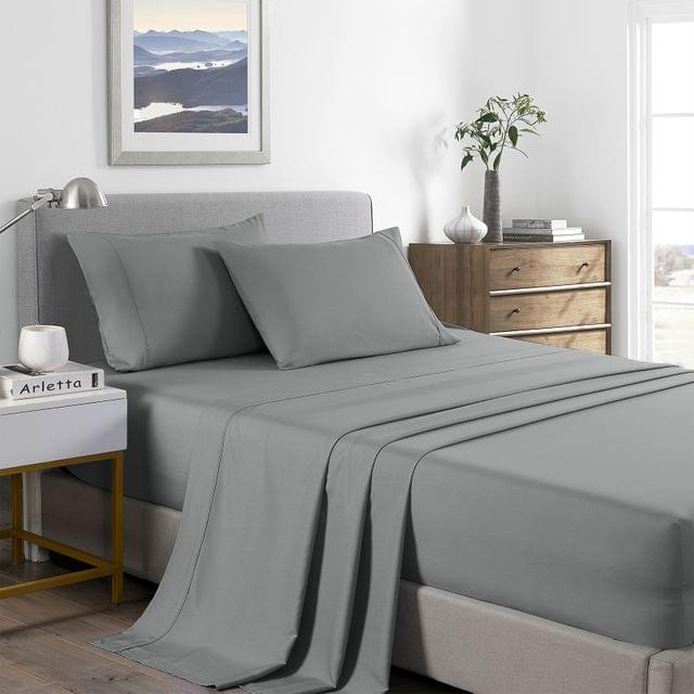 (DOUBLE)Royal Comfort 2000 Thread Count Bamboo Cooling Sheet Set Ultra Soft Bedding - Double - Mid Grey