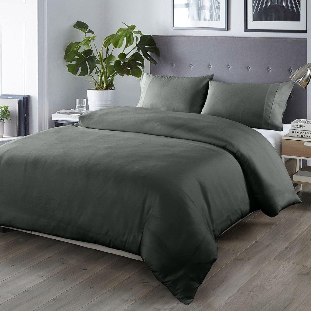 (KING)Royal Comfort Bamboo Blended Quilt Cover Set 1000TC Ultra Soft Luxury Bedding - King - Charcoal