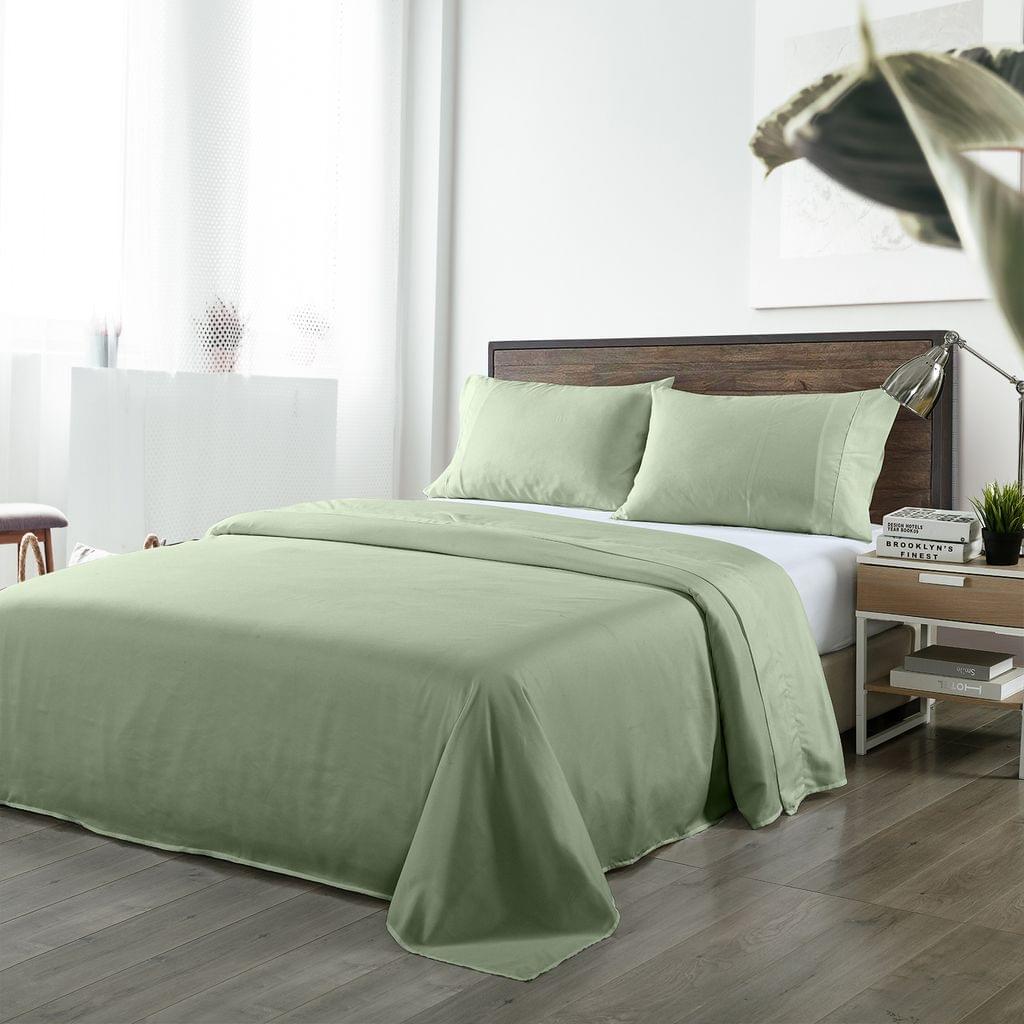 Royal Comfort Bamboo Blended Sheet & Pillowcases Set 1000TC Ultra Soft Bedding - Queen - Sage Green
