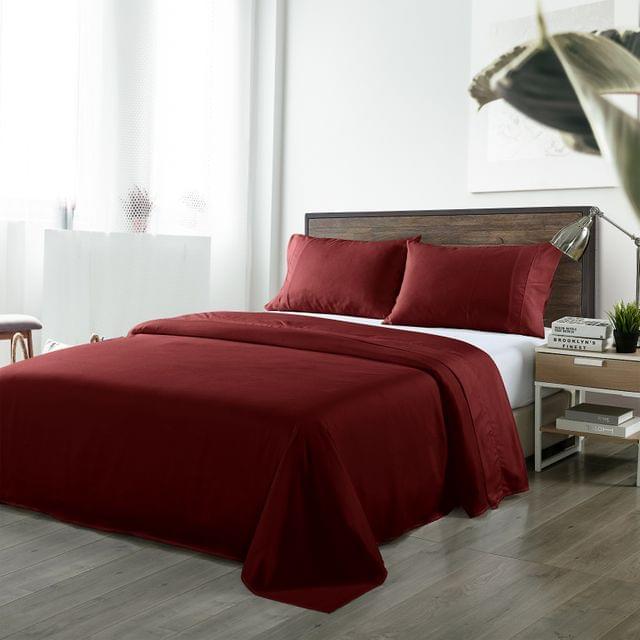 (QUEEN)Royal Comfort Bamboo Blended Sheet & Pillowcases Set 1000TC Ultra Soft Bedding - Queen - Malaga Wine