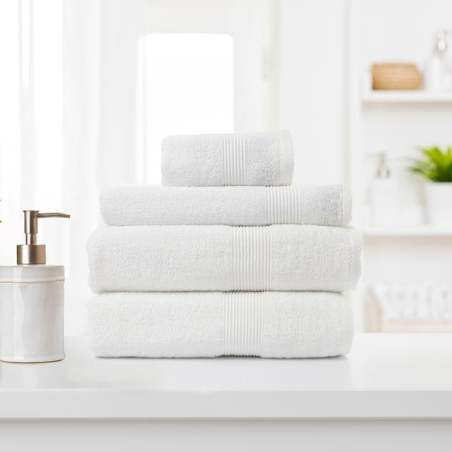 Royal Comfort 4 Piece Cotton Bamboo Towel Set 450GSM Luxurious Absorbent Plush - White
