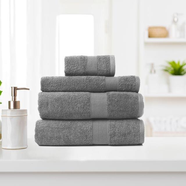 Royal Comfort 4 Piece Cotton Bamboo Towel Set 450GSM Luxurious Absorbent Plush - Charcoal