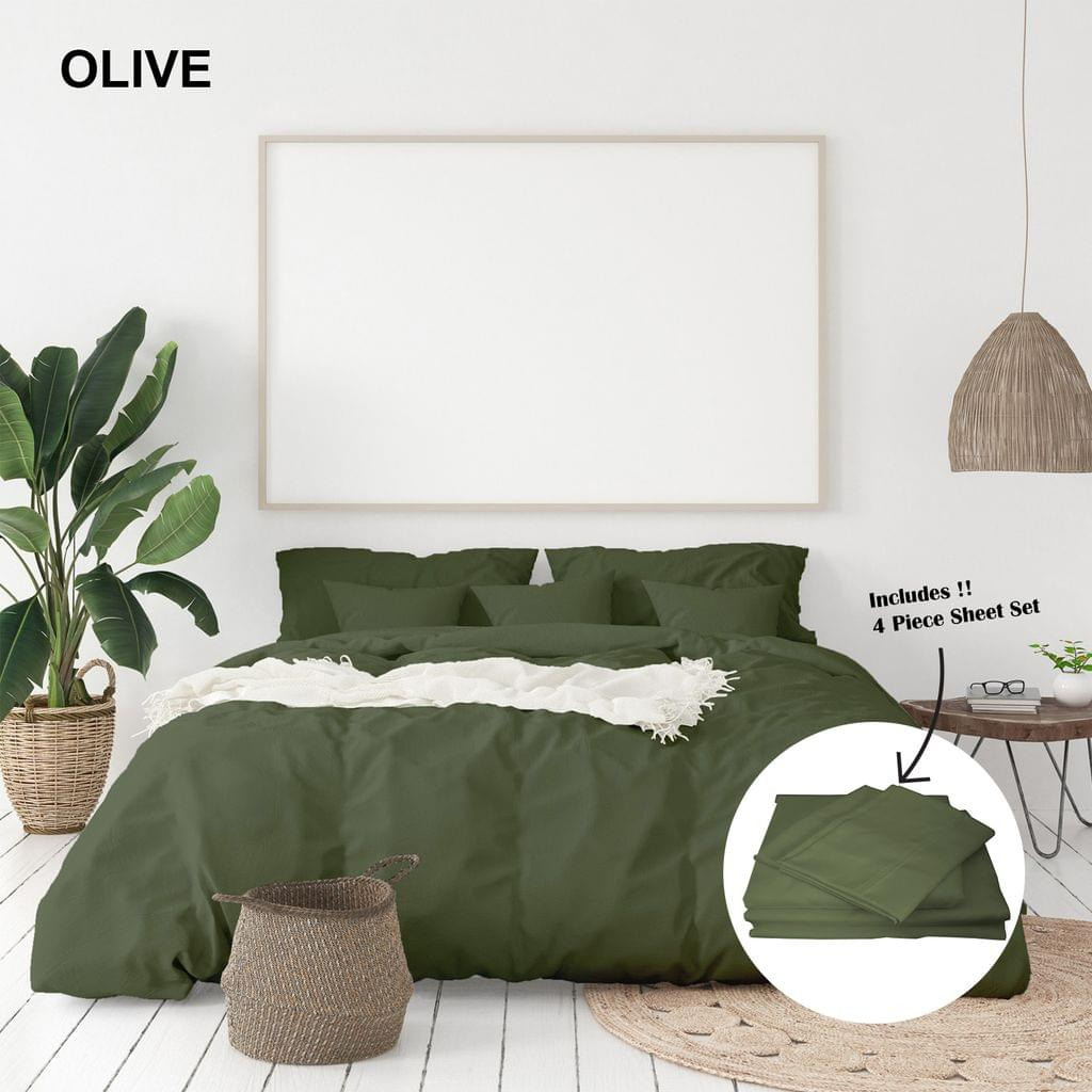 Royal Comfort 1000 Thread Count Bamboo Cotton Sheet and Quilt Cover Complete Set - King - Olive