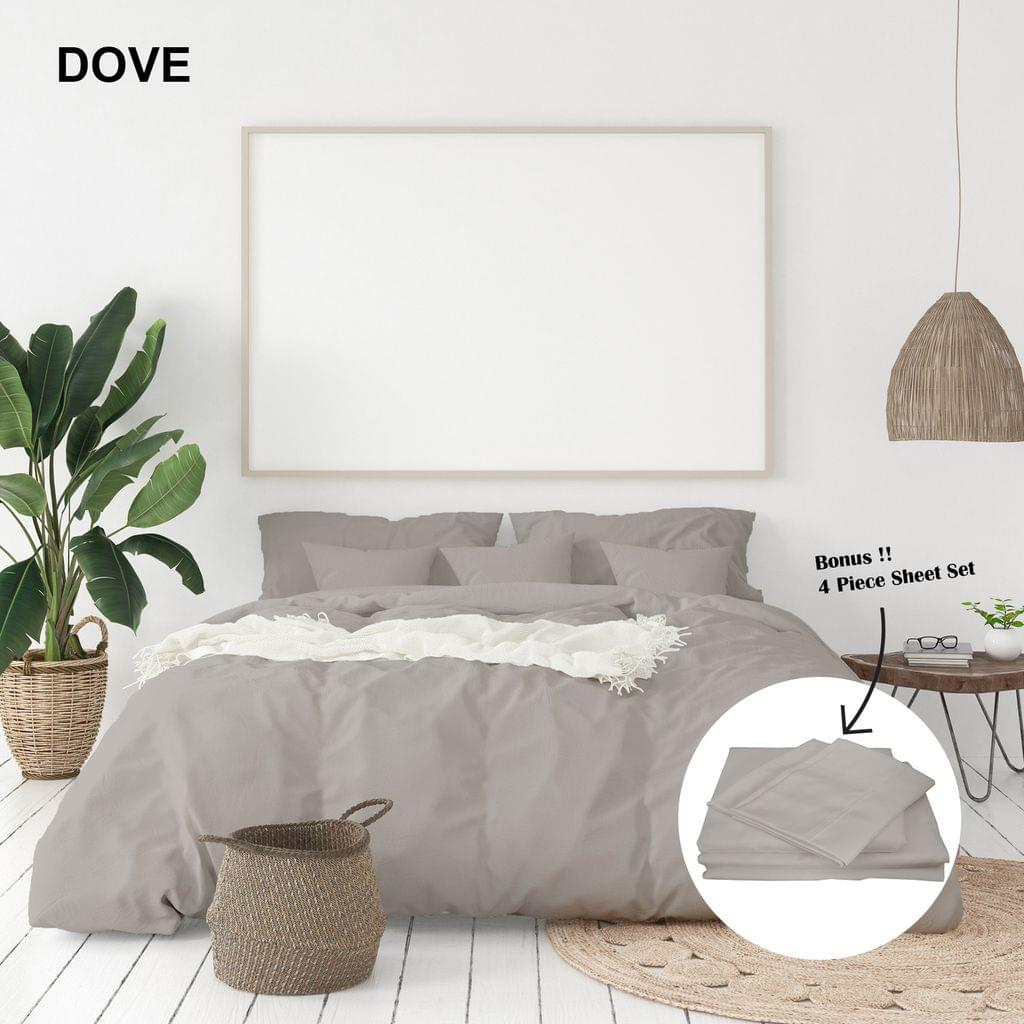 (KING)Royal Comfort 1000 Thread Count Bamboo Cotton Sheet and Quilt Cover Complete Set - King - Dove