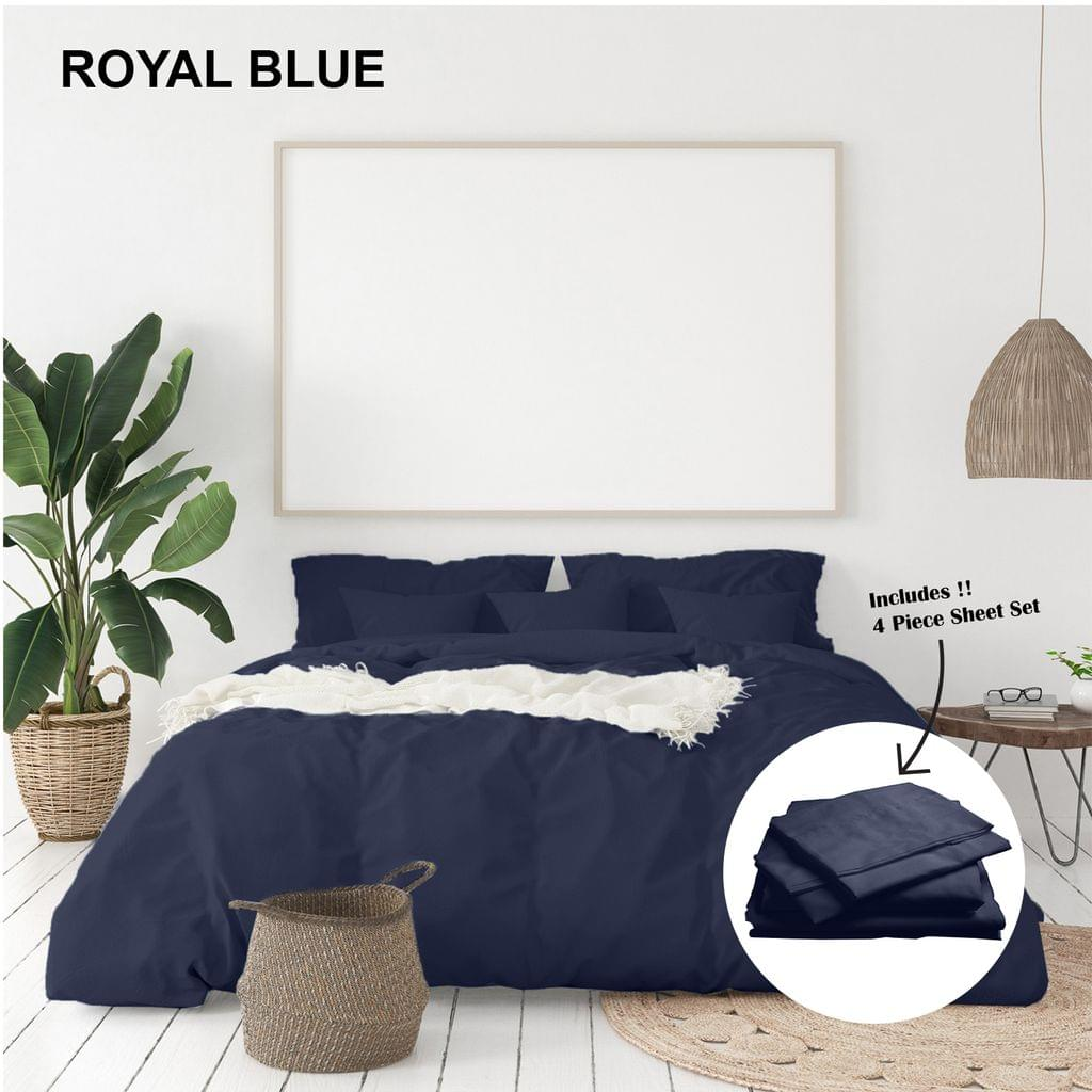 (KING)Royal Comfort 1000 Thread Count Bamboo Cotton Sheet and Quilt Cover Complete Set - King - Royal Blue