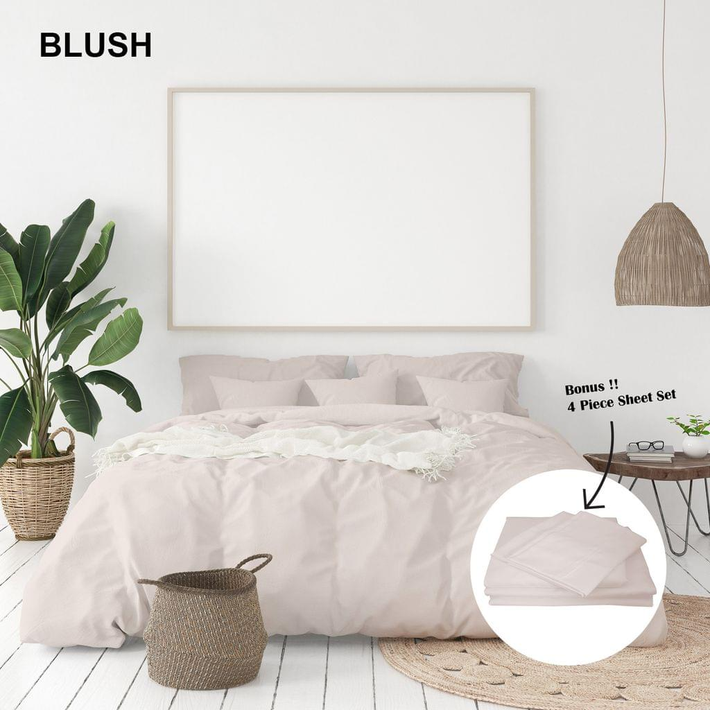 (KING)Royal Comfort 1000 Thread Count Bamboo Cotton Sheet and Quilt Cover Complete Set - King - Blush