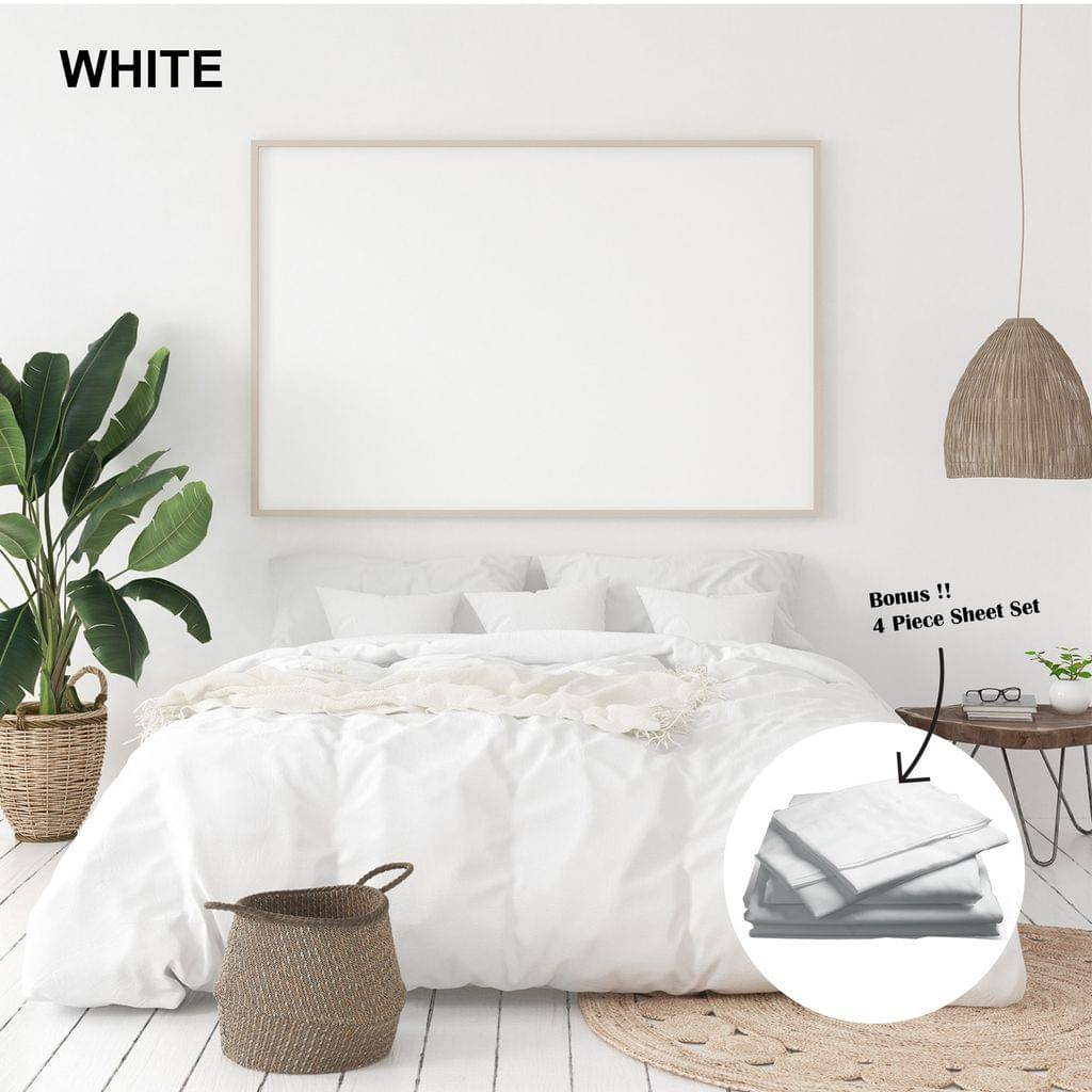(KING)Royal Comfort 1000 Thread Count Bamboo Cotton Sheet and Quilt Cover Complete Set - King - White