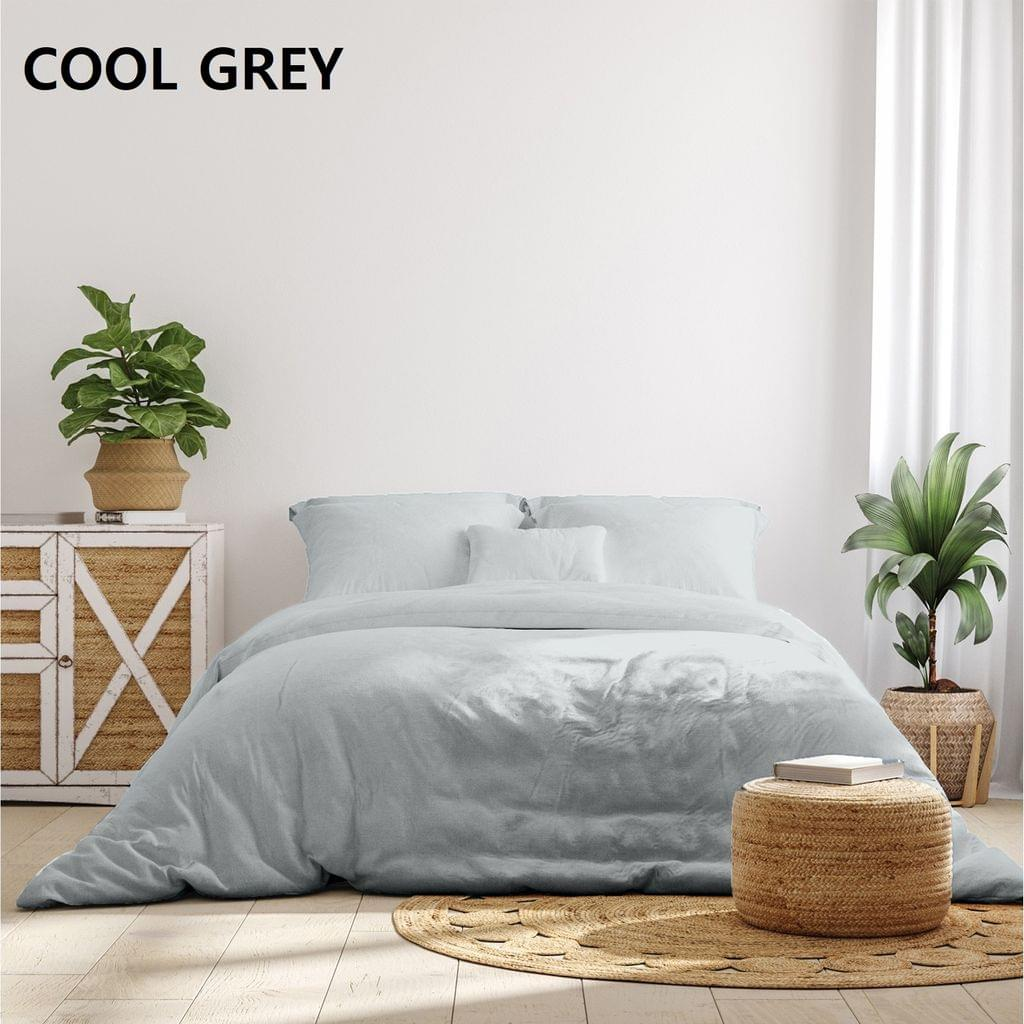 Royal Comfort 1000 Thread Count Bamboo Cotton Sheet and Quilt Cover Complete Set - Queen - Cool Grey