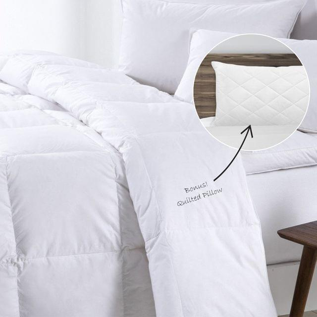 Royal Comfort 500GSM Goose Feather Down Quilt And Bamboo Quilted Pillow Set - Queen - White