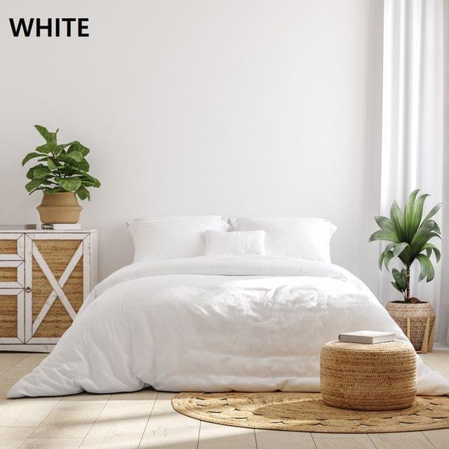 Royal Comfort 1000TC Hotel Grade Bamboo Cotton Sheets Pillowcases Set Ultrasoft - Double - White