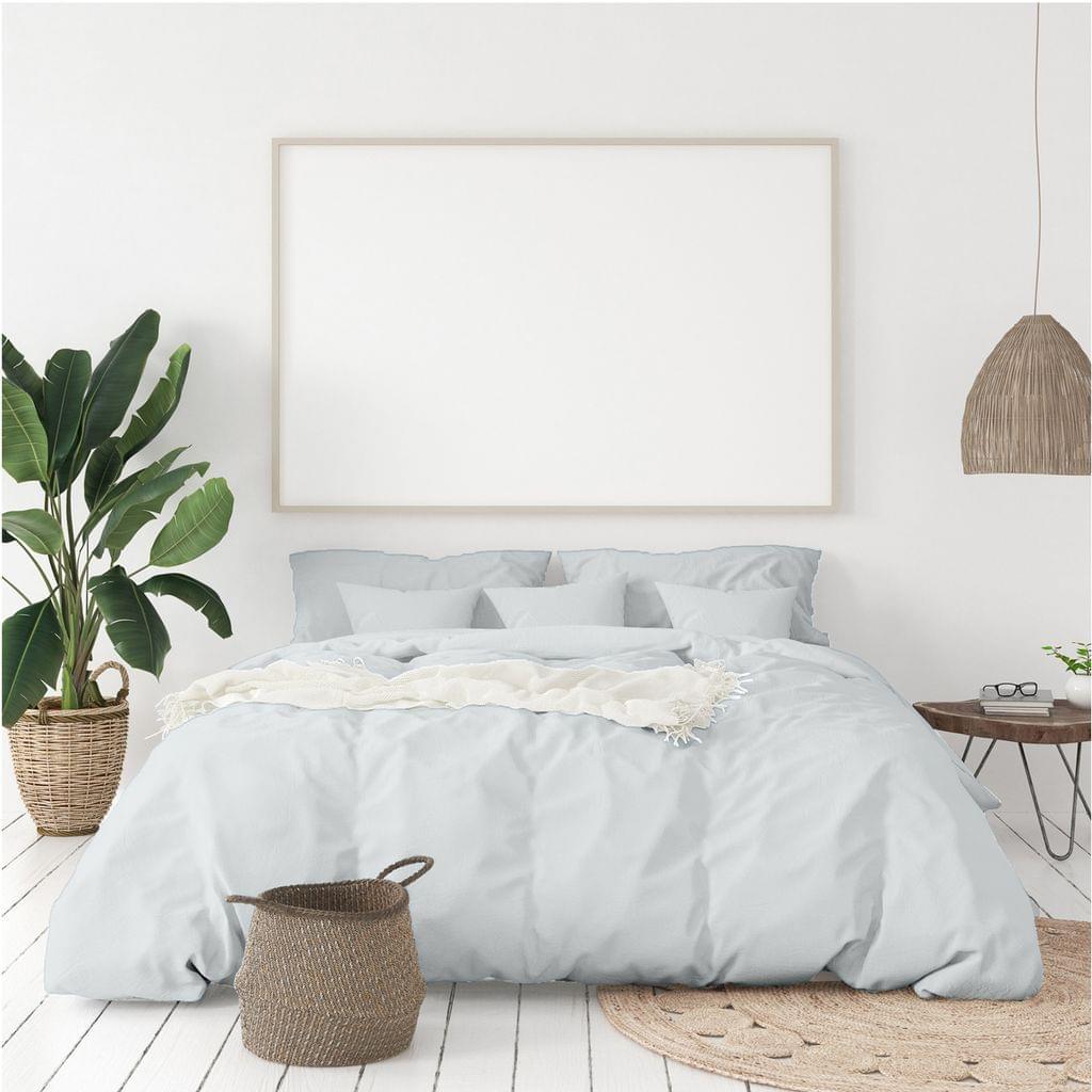 (QUEEN)Balmain 1000 Thread Count Hotel Grade Bamboo Cotton Quilt Cover Pillowcases Set - Queen - Cool Grey