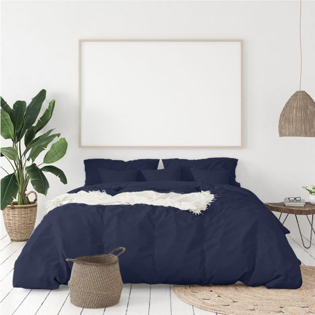 (QUEEN)Balmain 1000 Thread Count Hotel Grade Bamboo Cotton Quilt Cover Pillowcases Set - Queen - Royal Blue