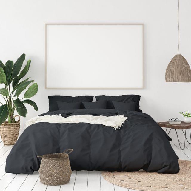 Balmain 1000 Thread Count Hotel Grade Bamboo Cotton Quilt Cover Pillowcases Set - Queen - Charcoal