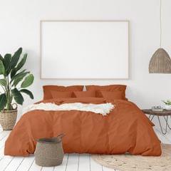 (QUEEN)Balmain 1000 Thread Count Hotel Grade Bamboo Cotton Quilt Cover Pillowcases Set - Queen - Cinnamon