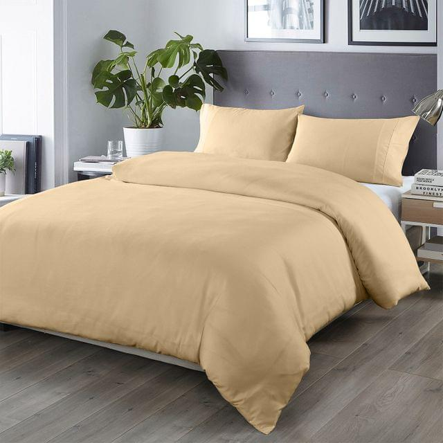 (QUEEN)Royal Comfort Bamboo Blended Quilt Cover Set 1000TC Ultra Soft Luxury Bedding - Queen - Oatmeal