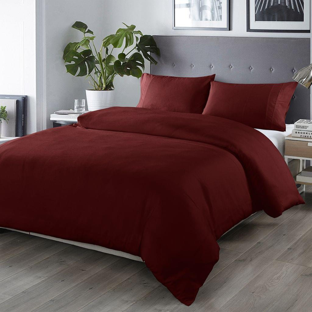 Royal Comfort Bamboo Blended Quilt Cover Set 1000TC Ultra Soft Luxury Bedding - Queen - Malaga Wine