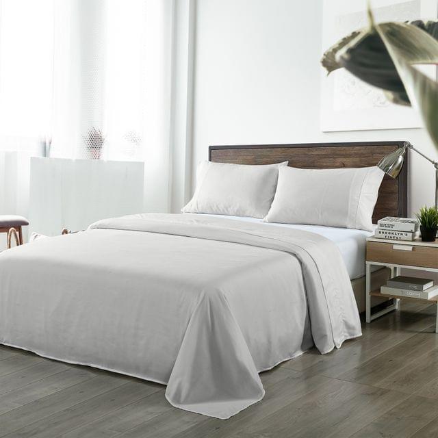 Royal Comfort Bamboo Blended Sheet & Pillowcases Set 1000TC Ultra Soft Bedding - King - Light Grey