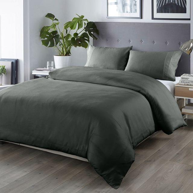 (QUEEN)Royal Comfort Bamboo Blended Quilt Cover Set 1000TC Ultra Soft Luxury Bedding - Queen - Charcoal