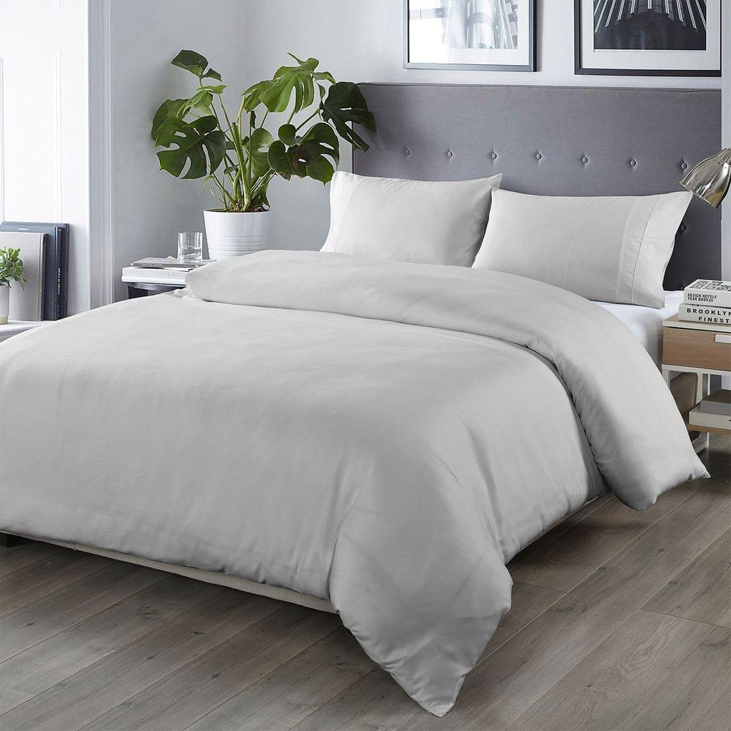 (QUEEN)Royal Comfort Bamboo Blended Quilt Cover Set 1000TC Ultra Soft Luxury Bedding - Queen - Portland Grey