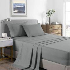 (SINGLE)Royal Comfort 2000 Thread Count Bamboo Cooling Sheet Set Ultra Soft Bedding - Single - Mid Grey