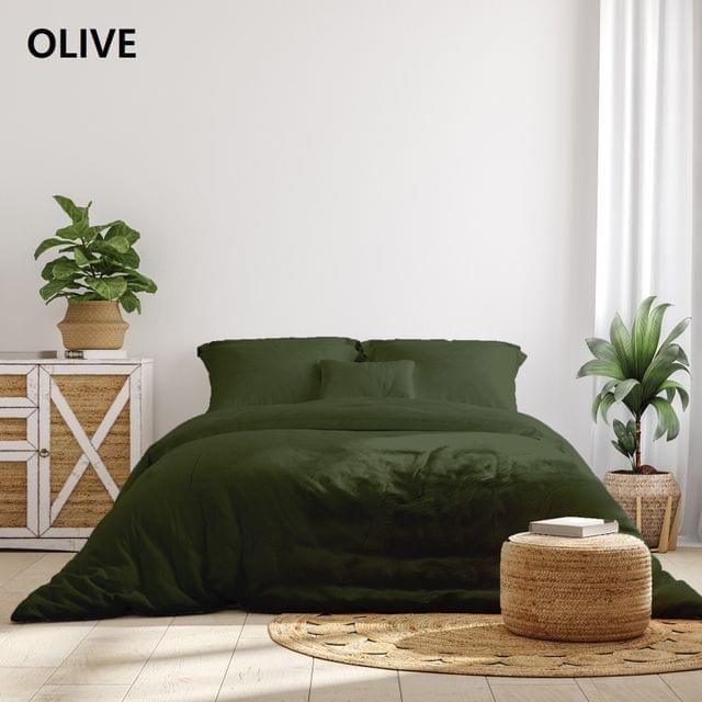 Royal Comfort 1000TC Hotel Grade Bamboo Cotton Sheets Pillowcases Set Ultrasoft - Queen - Olive