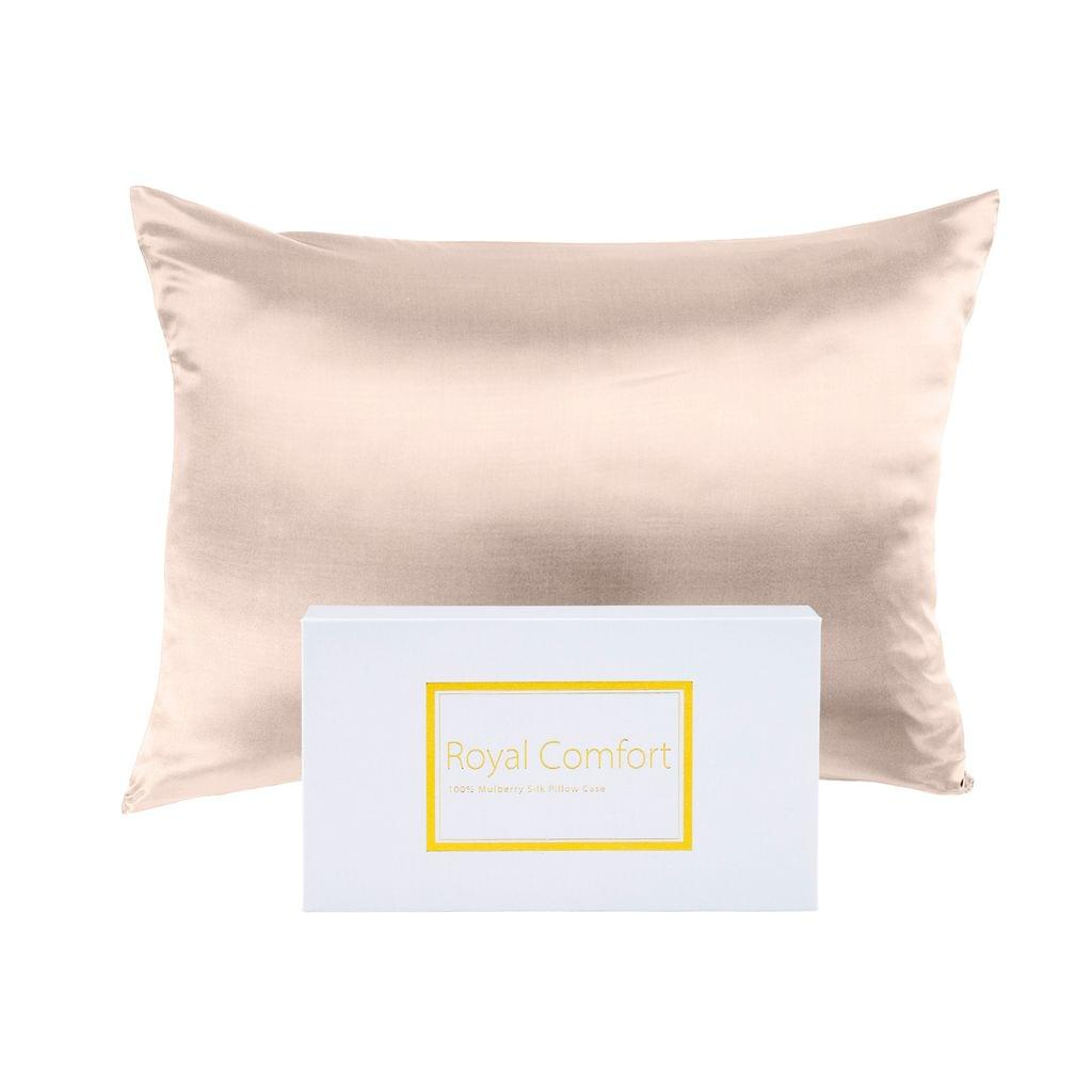 Royal Comfort Pure Silk Pillow Case 100% Mulberry Silk Hypoallergenic Pillowcase - Champagne Pink