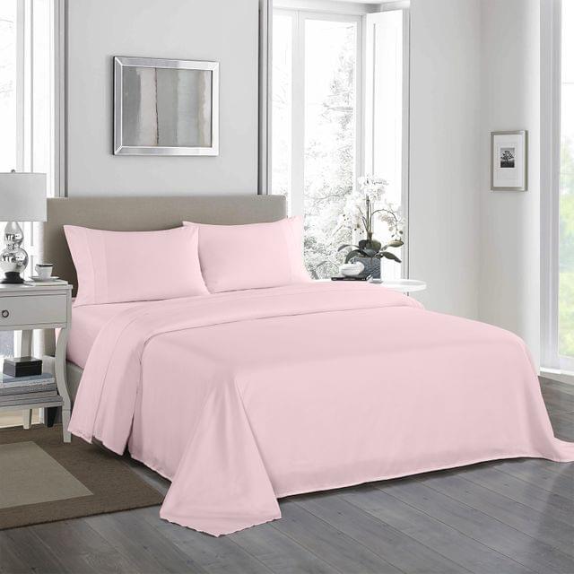 Royal Comfort 1200 Thread Count Sheet Set 4 Piece Ultra Soft Satin Weave Finish - King - Soft Pink