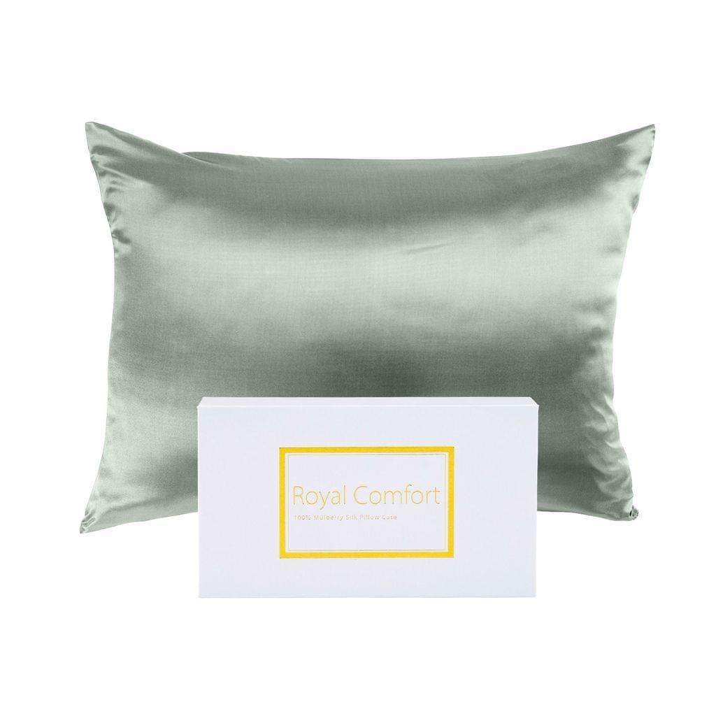 Royal Comfort Pure Silk Pillow Case 100% Mulberry Silk Hypoallergenic Pillowcase - Sage