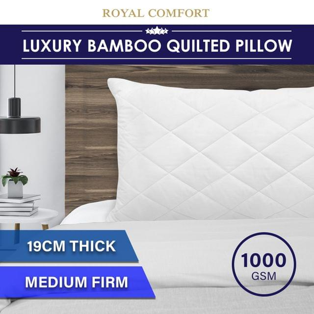 Royal Comfort Luxury Bamboo Blend Quilted Pillow Single Pack Extra Fill Support