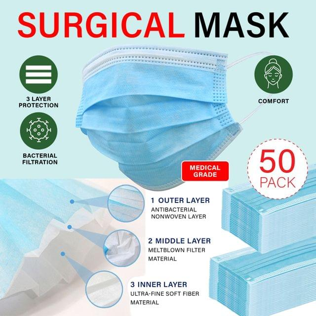 50 Pack Face Masks 3 Ply Disposable MKII Anti Bacterial Filter