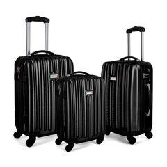 Milano ABS Luxury Shockproof Luggage 3pc Set Black