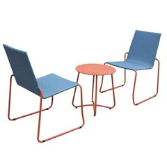 Milano Outdoor Steel Rattan 3 Piece Blue Orange Coffee Set