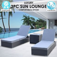 Milano Outdoor 3pc Sunlounge Set
