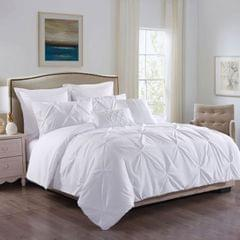 ROYAL COMFORT 7PCS PLEAT COMFORTER SET 150gsm Fill -KING WHITE