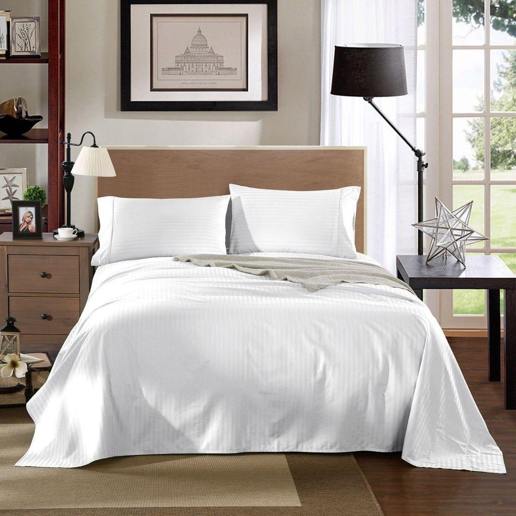 Kensington 1200TC Ultra Soft 100% Egyptian Cotton Sheet set in Stripe Queen - White