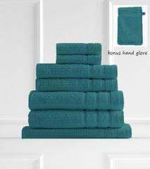 Royal Comfort Eden 600GSM 100% Egyptian Cotton 8 Piece Towel Pack - Turquoise