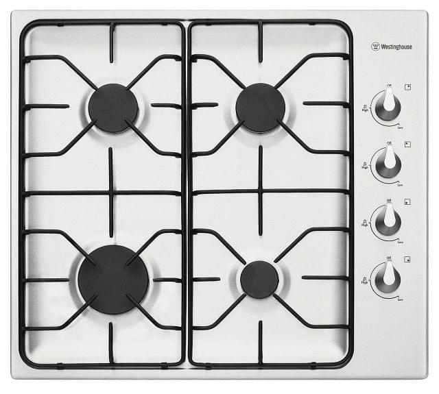 WESTINGHOUSE 60cm 4  Burner Gas Cooktop Enamel Trivets F/F