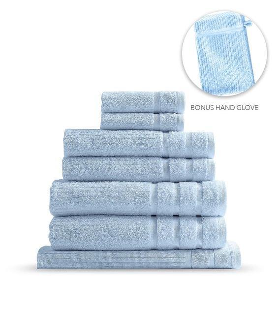 Royal Comfort Eden Egyptian Cotton 600GSM 8 Piece Luxury Bath Towels Set - Aqua