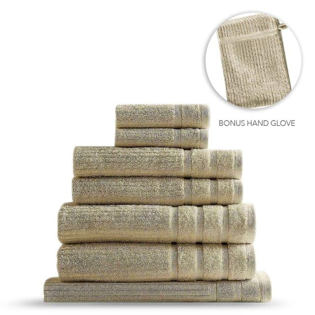 Royal Comfort Eden Egyptian Cotton 600GSM 8 Piece Luxury Bath Towels Set - Beige