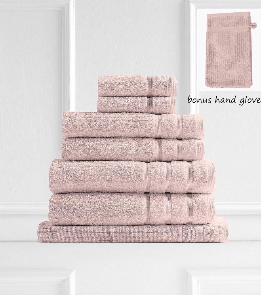 Royal Comfort Eden Egyptian Cotton 600GSM 8 Piece Luxury Bath Towels Set - Blush