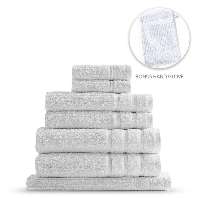 Royal Comfort Eden Egyptian Cotton 600GSM 8 Piece Luxury Bath Towels Set - White