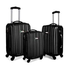 Milano Deluxe 3pc ABS Luggage Suitcase Luxury Hard Case Shockproof Travel Set - Black