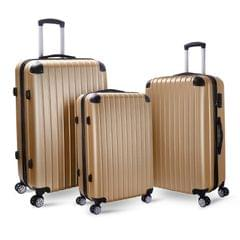 Milano Premium 3pc ABS Luggage Suitcase Luxury Hard Case Shockproof Travel Set - Gold